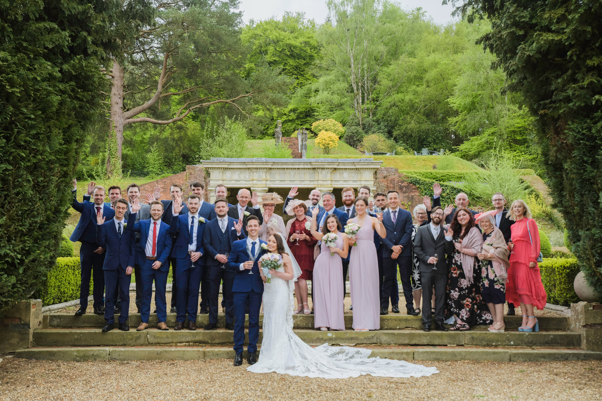 Group Wedding Photography in the Gardens at Wotton House
