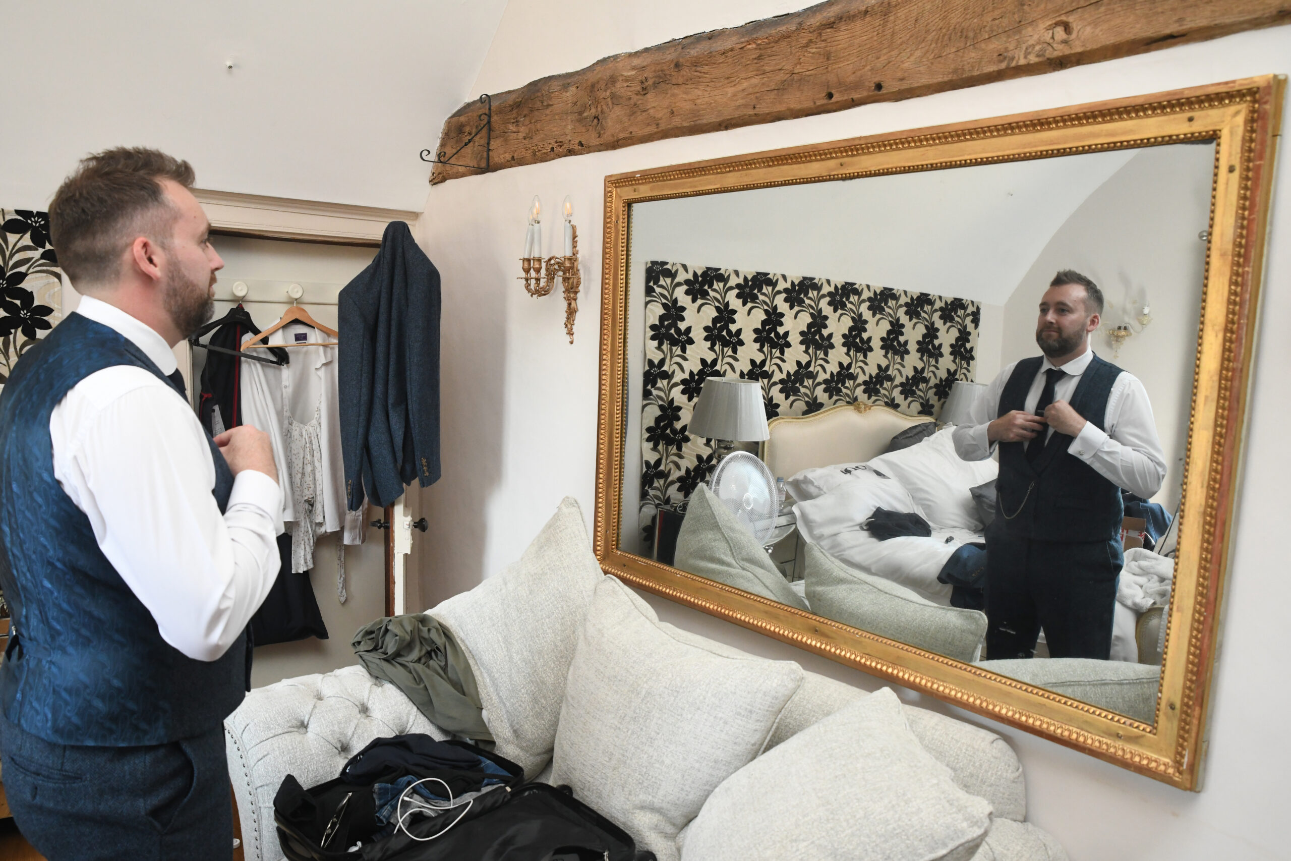 Groom getting ready at the Farmhouse Wootton Park