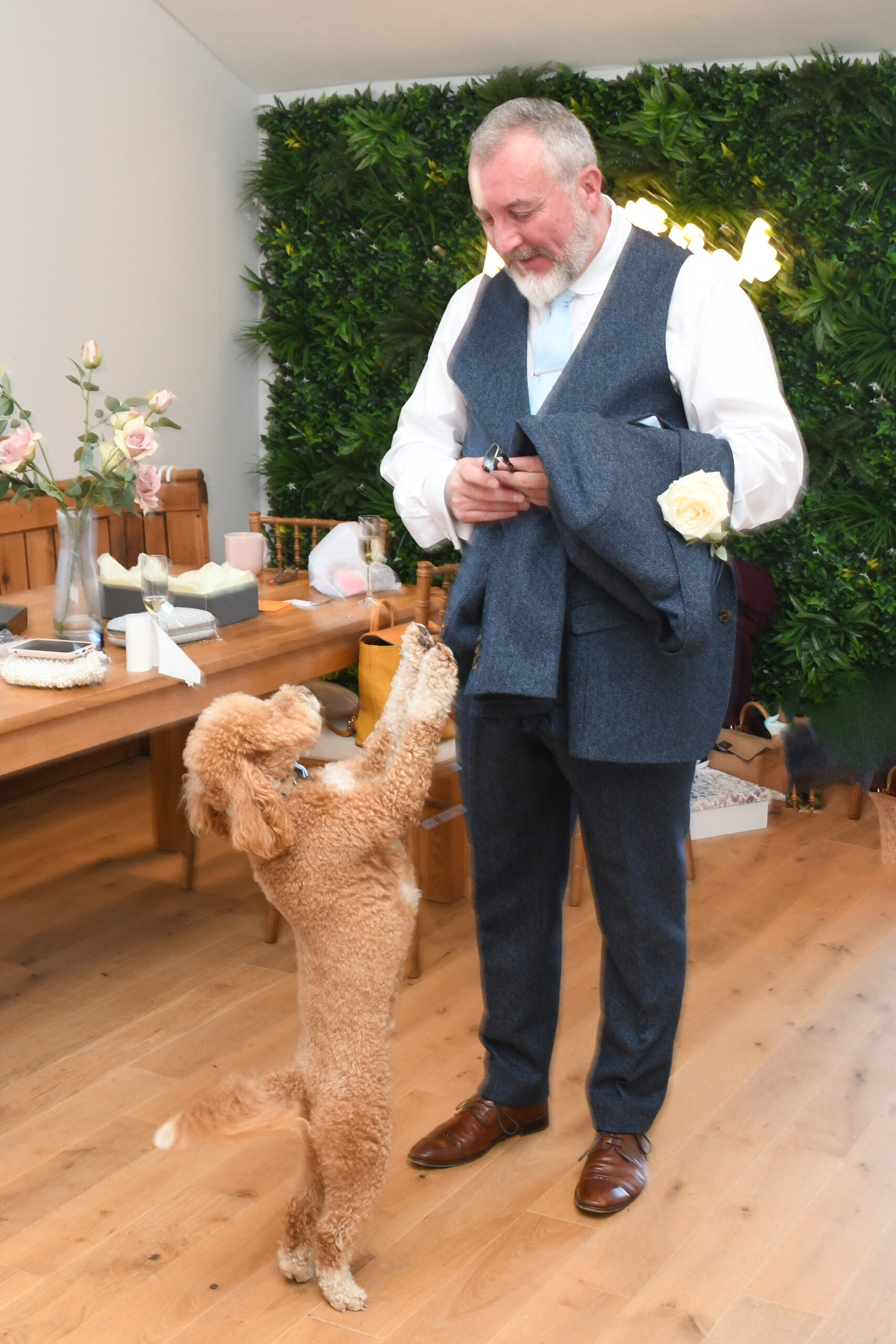 Brides Father and Dog Wedding Photography Wootton Park